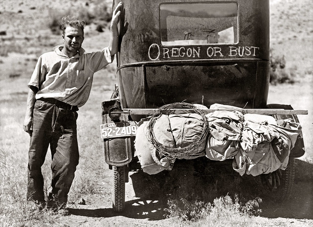 Vernon Evans (with his family) of Lemmon, South Dakota, near Missoula, Montana, on Highway 10, 1936, by Arthur Rothstein