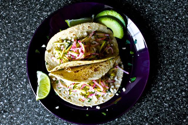 charred corn tacos, zucchini-radish slaw | Flickr - Photo Sharing!