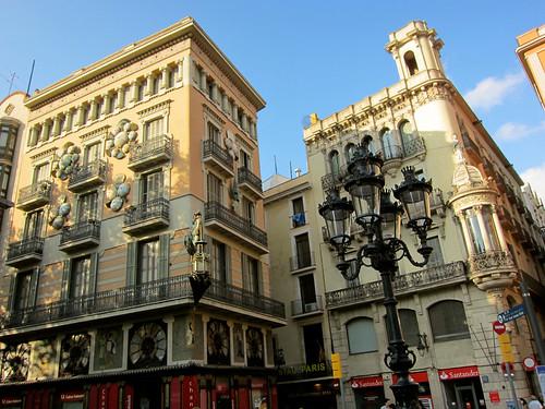 buildings along La Rambla