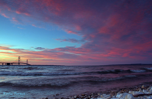 bridge blue sunset red lake water yellow rocks waves michigan mackinac mackinaw tpslandscape