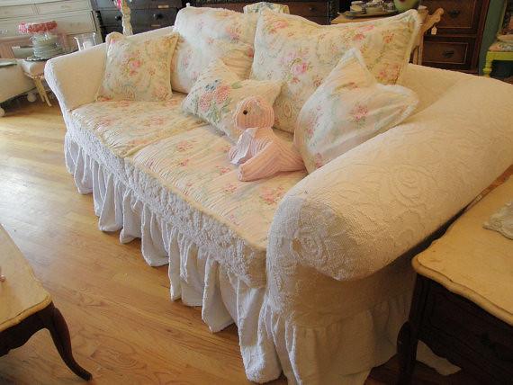 ruffle sofa shabby chic white slipcover roses flickr. Black Bedroom Furniture Sets. Home Design Ideas