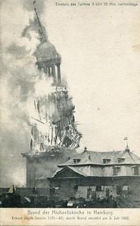 Brand der Michaeliskirche in Hamburg. Erbaut durch Sonnin 1751-62; durch Brand zerstört am 3. Juli 1906 (1906)