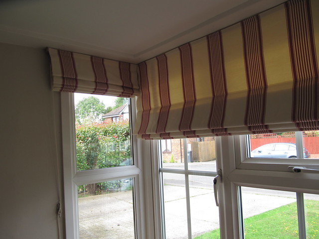 Roman blinds in a bay window flickr photo sharing for Roman shades bay window
