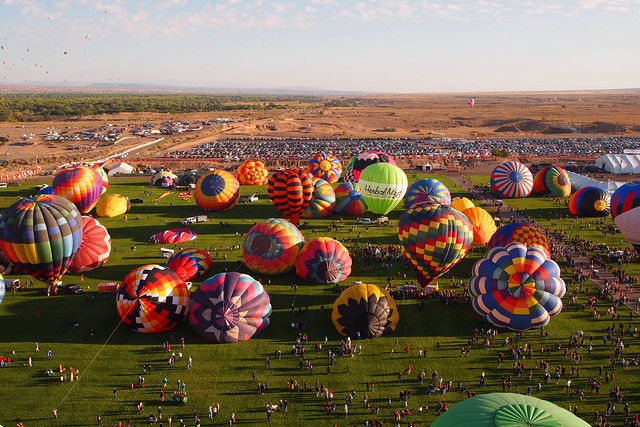 View of the balloon field from The Madhatter hot air balloon for the Albuquerque International Balloon Fiesta 2011