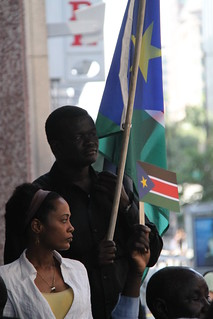 South Sudanese watch flag raising on independence day