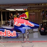 2011 British Grand Prix: Silverstone - Red Bull Renualt Pit Garage - Mark Webber