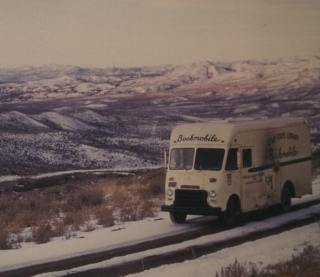Utah State Library Bookmobile on a Snowy Road (circa 1965)