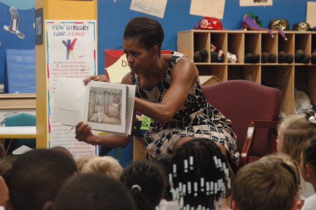 First lady Michelle Obama reads to 5 and 6-year-olds at Naval Air Station Oceana from Flickr via Wylio