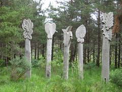 sculptures in the woods