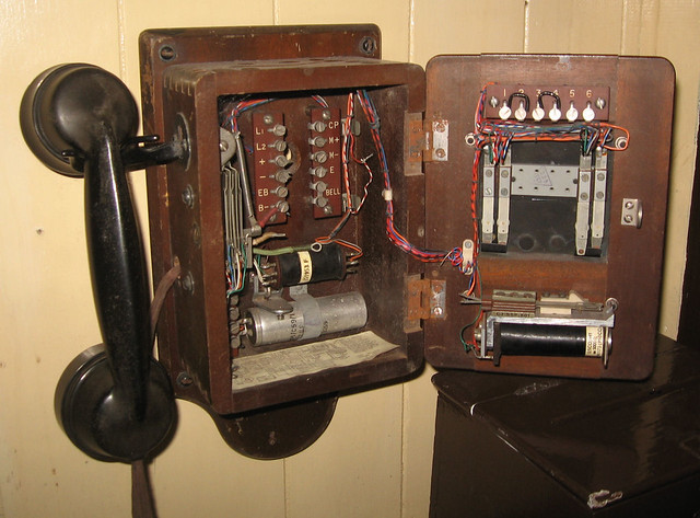 Innards of telephone at the station on the Gwili Railway