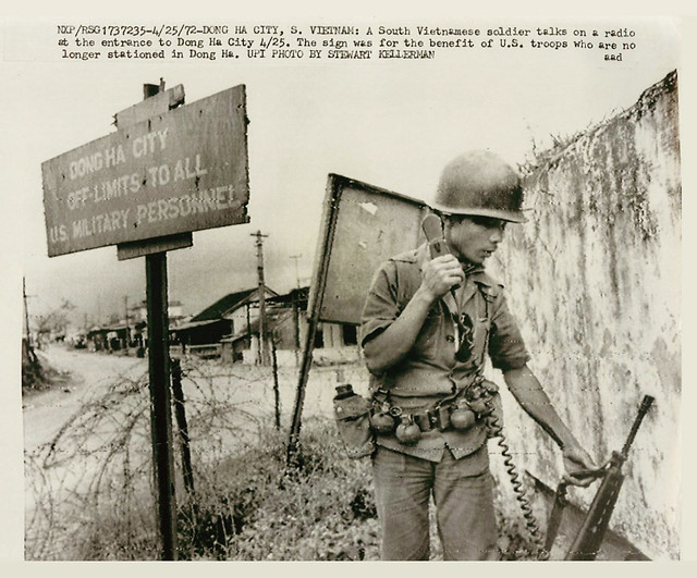 Quang Tri 1972 - South Vietnamese soldier talks on radio at the entrance to Dong Ha City