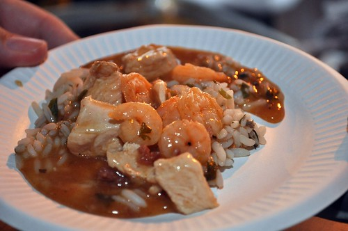 Shrimp, Chicken, & Andouille Étouffée over Mushroom Rice from Creole Kitchen