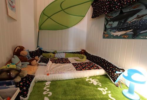 Yep my kid still sleeps in a closet our post crib for Floor mattress bed ideas