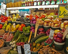supermarket(0.0), city(0.0), public space(0.0), vegetable(1.0), whole food(1.0), plant(1.0), greengrocer(1.0), produce(1.0), food preservation(1.0), food(1.0), marketplace(1.0), grocery store(1.0), local food(1.0), retail-store(1.0),