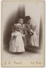 Two Siblings Times Two - Cabinet Card with Mirror
