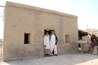 A newly built, flood-resistant house in Pakistan's Sindh province