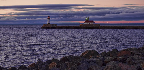 park morning lighthouse lake water sunrise canal rocks pentax peaceful superior duluth kx lighthousetrek