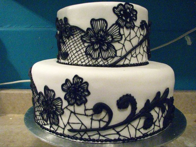 black lace wedding cakes black lace wedding cake flickr photo 11869
