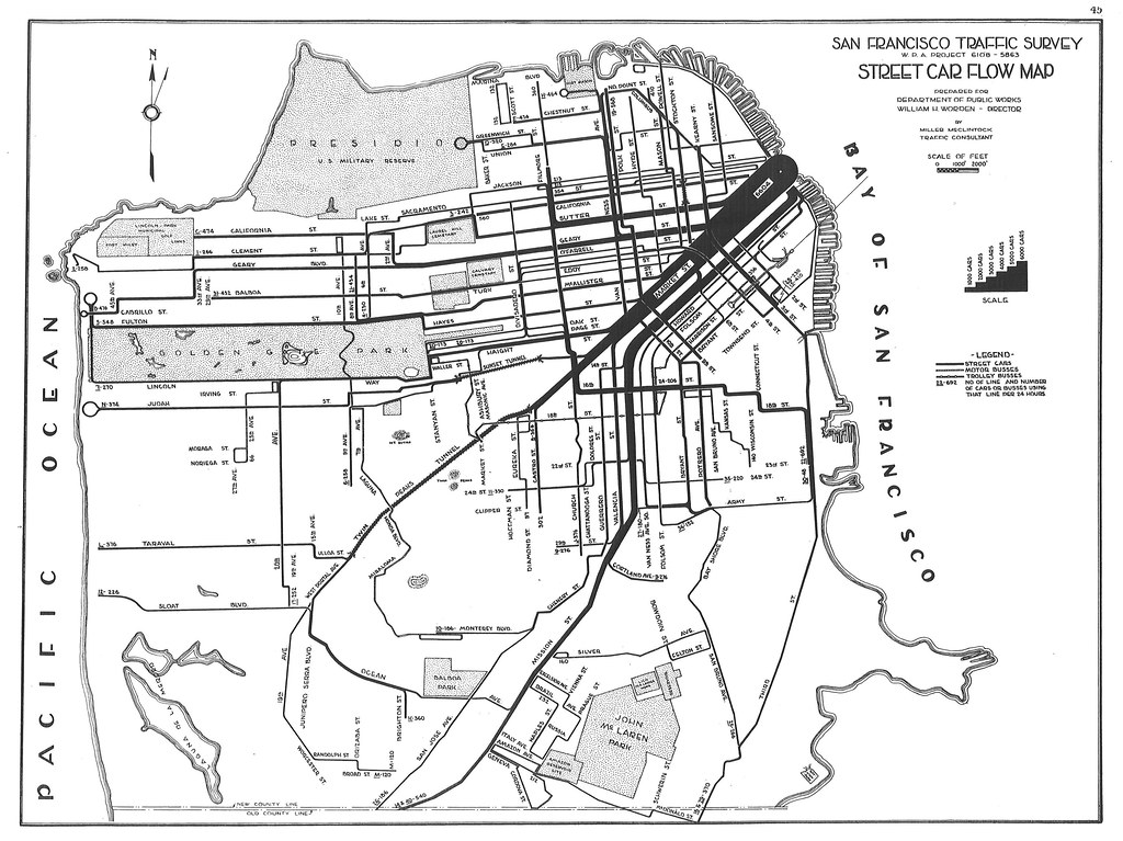 Trams San Francisco Map.San Francisco Traffic Survey Street Car Flow Map 1937 Flickr