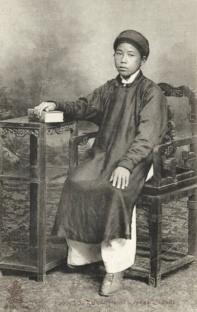 Indochina, TONKIN HANOI, Young Native Boy Student 1910s