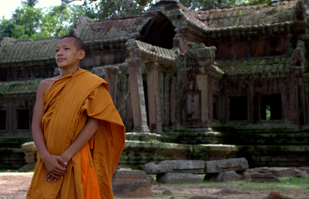 Buddhist Poise At Angkor Wat