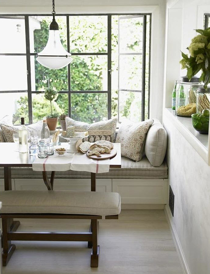 Chris barrett white rustic modern window seat banquette breakfast nook dining room - Kitchen corner nooks ...