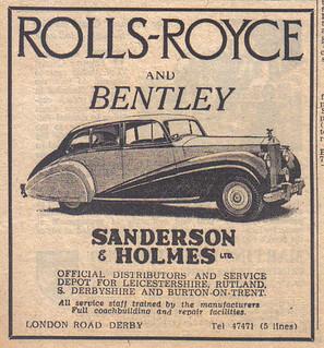 1952 ROLLS ROYCE ADVERT SANDERSON AND HOLMES LONDON ROAD DERBY