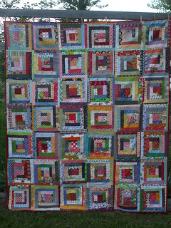 quilt-as-you-go log cabin