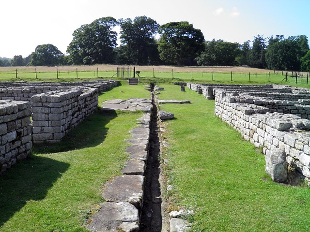 The Barracks with the drain in the middle, Chesters Roman Fort
