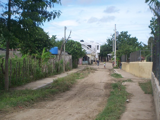 down the street from the church