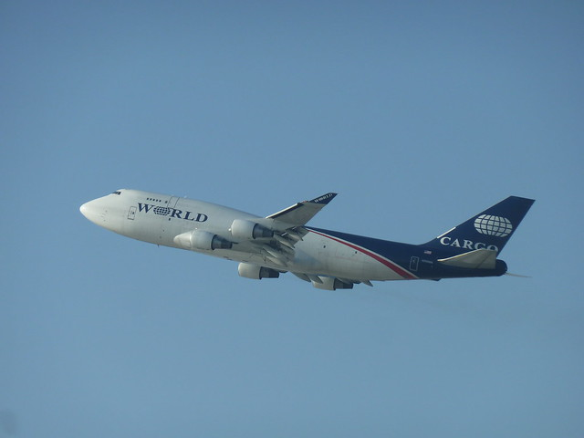 World Airways cargo Boeing 747-400F jet seconds after take-off from LAX