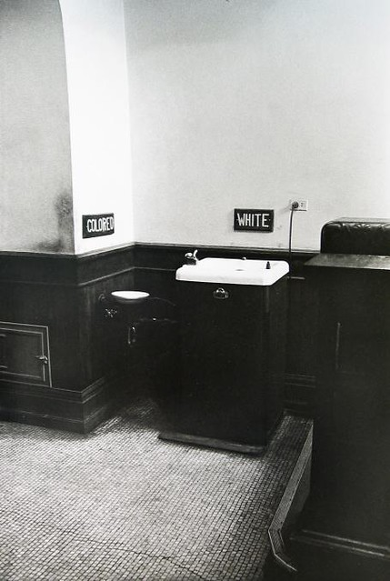 Segregated drinking fountains in the county courthouse, Albany, Georgia, 1962, by Danny Lyon