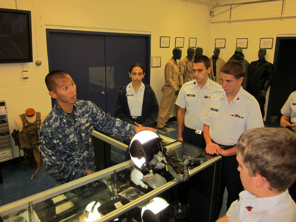 Petty Officer Robert Graf explains head protection