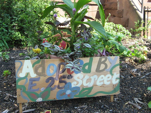 Unoccupied brownstone garden adoption sign