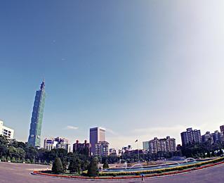 Image of Sun Yat-sen Memorial Hall near Taipei. blue sky sun building water fountain skyscraper hall memorial sony taiwan fisheye 101 taipei tall sen yat nex5 ecf1 soeperbaby
