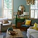 Blue living room + colorful accents: Benjamin Moore 'Wythe Blue'