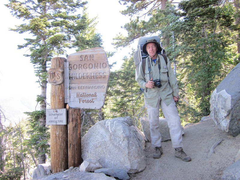 Me, at the San Gorgonio Wilderness boundary sign