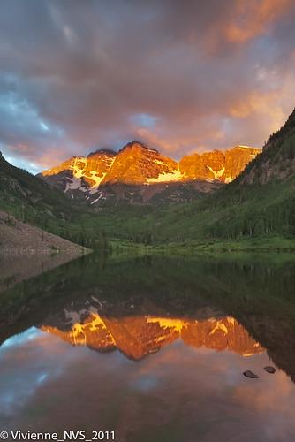 sunrise colorado maroonbells maroonlake