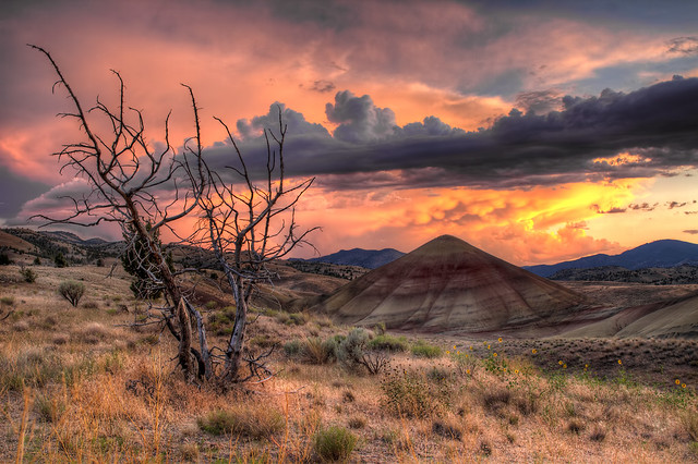 Sunset at Painted Hills in Central Oregon - HDR
