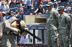 San Diego Padre's mascot bows praise to California National Guard troops