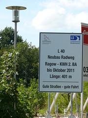 Bauschild: L 40 Neubau Radweg Ragow - KWh