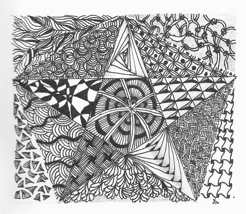 Line Drawing Zentangle : The llama momma zentangle