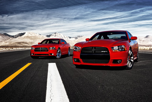 (L to R) 2011 Dodge Charger R/T and 2012 Dodge Charger SRT8 Photo