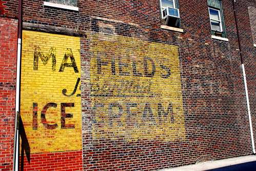 Mayfield Ice Cream faded wall ad