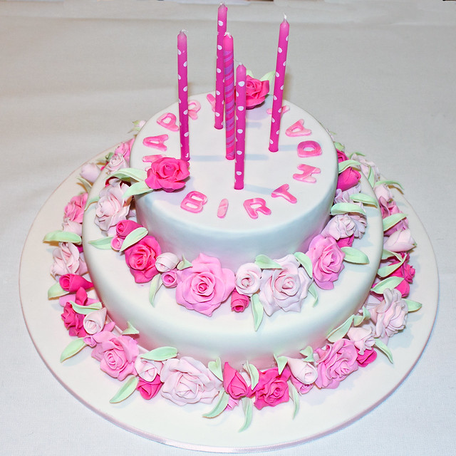 Birthday Cake Images With Name Pinky : Pink rose birthday cake Flickr - Photo Sharing!