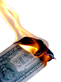 Burning Money Isolated on White