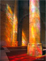 Sun illuminating the columns in the Jacobins Church,Toulouse, France