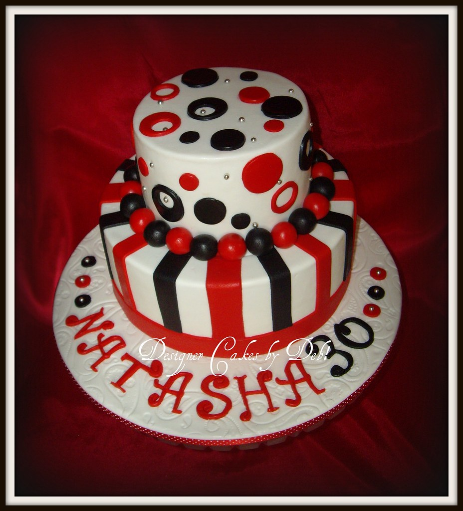 Funky red Black White 30th Birthday Cake a photo on Flickriver