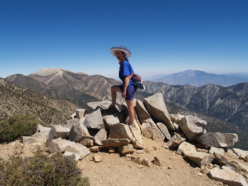 East San Bernardino Peak summit, with Gorgonio and San Jacinto in the distance