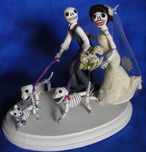 day of the dead wedding cake topper skeleton groom on skat